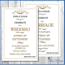 10 x WEDDING DAY / EVENING INVITATIONS CARDS PERSONALISED INVITES WITH ENVELOPES