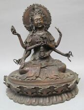 "10.8"" Old Tibet Tibetan Purple Bronze Ushnishavijaya Buddha Statue"