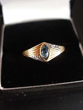 9CT GOLD BLUE TOPAZ & DIAMOND DRESS RING BNIB MADE IN ENGLAND PURE QUALITY