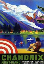 Art Print Chamonix Mont Blanc Golf Tennis Travel Poster