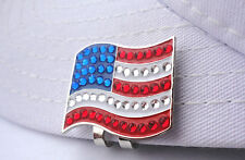 Crystal American Flag Golf Ball Marker  with Bonus Magnetic Hat Clip