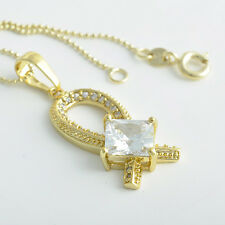 Special Woman 9K Real Gold Plated 3 Colour Main crystal Pendand Necklace Chain