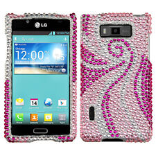 LG Optimus Showtime Crystal Diamond BLING Hard Case Phone Cover Pink Tail