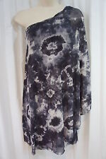 """Sweet Pea Dress Sz S Charcoal """"Taggish"""" Party Cocktail One Shoulder Semi Sheer"""