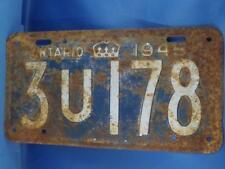 ONTARIO LICENSE PLATE 1945 3U 178 ANTIQUE CANADA MAN CAVE CAR SHOP SIGN