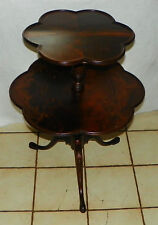 Burl Walnut Carved 2 Tier Dumbwaiter End Table / Side Table  (T549)