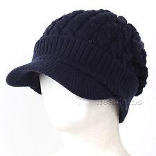 brim BEANIE visor man woman winter Hats Unisex ski snowboard Cap NwB navy-gray