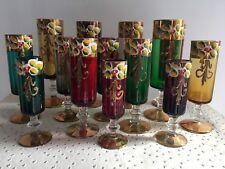 Vintage 14 Verres Murano Des années 60 ( Flûtes à Digestif Liqueur Collection )
