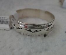 size 11.5 Sterling Silver Stamped design Handcrafted Navajo 6mm wide Band Ring