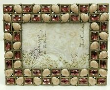 """NEW decorative jewels pink almond  4"""" x 6"""" brass  PHOTO  Picture Frame"""