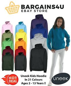 UNEEK Kids Boys & Girls Hoodie Plain Thick Hooded Sweatshirt Ages 2-13 UC503 New