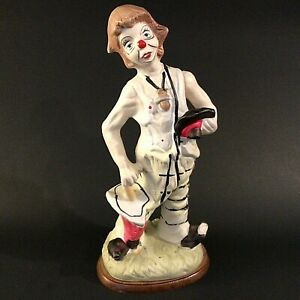 "VINTAGE CLOWN FIGURINE HOBO HAND DECORATED LARGE 12"" WHITE BLACK RED UMBRELLA"