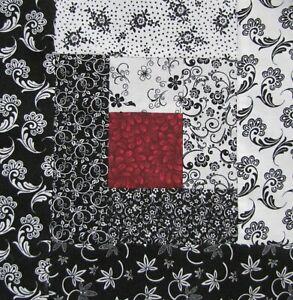 "Quilt Top Block Kit~16 PreCut 8.5"" Log Cabin Blocks~Patchwork~""Black/Red #3""USA"