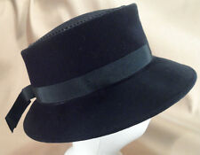 Vintage Black Felt Boater Style Ladies Hat - Very Cute! - 21 1/2""