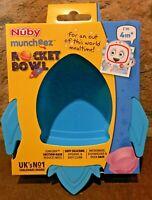 Nuby Suregrip™ Super Suction Baby Food Bowl / Rocket Silicone Blue Muncheez