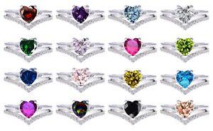 Elegant Simulated Birthstone Heart Genuine Sterling Silver Two Ring Chevron Set