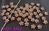 240Pcs Antiqued copper plt 5-leaf flower spacer beads A71C