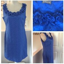 PER UNA M&S Broiderie Anglaise Cotton Ruffle Neck Lined Blue Dress Size 14R