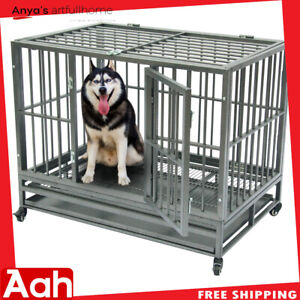 "42"" Heavy Duty Dog Cage Crate Kennel Metal Pet Playpen Portable with Tray Sliver"