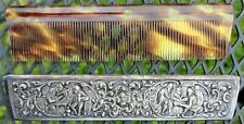 Vintage Faux Tortoise Shell Comb/Silver Cover Sleeve Tavern/Bar Scenes Medieval