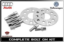 2pc 3mm Wheel Spacer Kit With 10 Bolts 5x100 / 5x112 Fits Audi & Volkswagen