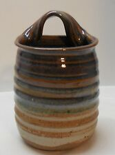 Wall Pocket Vase Pottery Earth Tone Ribbing Hand Crafted Signed