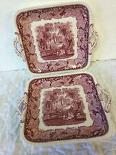 2 Antique Mason's Ironstone Pink Transferware VISTA Tray Platters with Handles
