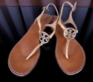 TORY BURCH Breige Patent Leather Strappy Thong Ankle Strap Sandals VGUC Sz. 11M
