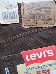 Levi's 551 Cord Jeans Hose, W 32 /L 32, NEU ! braune Cordhose mit Knopfleiste !