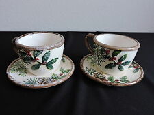 Yankee Candle Tea Cup and Saucer Set 2 Tealight Holders Holly Christmas Winter