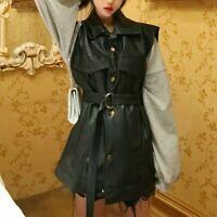 Lady Faux Leather Waistcoat Vest Tank Tops Jacket Sleeveless Coat Belt PU Casual