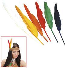 12 FARBIGE FEDERN Karneval Indianer Kostüm Party grüne rote gelbe weiß lila 3303
