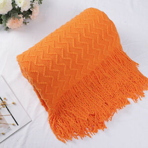 """Throw Blanket for Sofa Couch, Knit Woven Blanket,Orange Throw (50"""" *60"""")"""