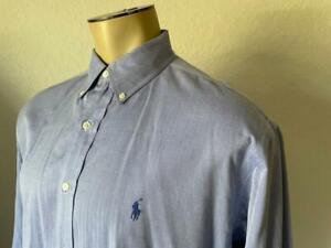 """RALPH LAUREN Men's Blue Yarmouth Oxford Long Sleeve Dress Shirt 16 1/2 - 36/37"""""""