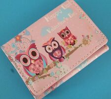 PINK OWL ANIMAL S WALLET WOMEN GIRL PURSE CARD HOLDER PHOTO HEN PARTY GIFT Y8