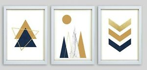 Geometric abstract prints, Nordic wall art Set of 3 Scandinavian new home yellow