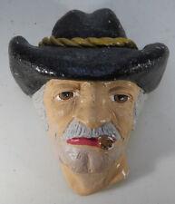 "Antique Vintage Chalkware decorative head Cow Boy Buccaneer 6"" 1/2 Marked"