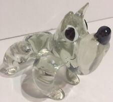 Vintage Clear Art Glass Bull Dog Figurine Paperweight
