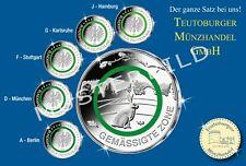 5 x 5 Euro 2019 Gemäßigte Zone mit Polymer Ring grün ganzer Satz  A-D-F-G-J ,unz