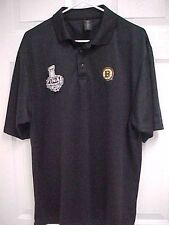 BOSTON BRUINS 2013 NHL Stanley Cup Final Men Sewn Black Polo Shirt L Reebok New
