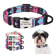 Small Large Nylon Dog Collars Personalised Pet Cat Puppy Name ID Tag Engraved
