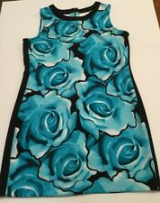 Worthington Sleeveless Shift Dress Stretch XL Floral Rose Blue Cut Out Razorback