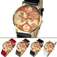 Classic Retro World Map Globe Leather&Alloy Womens Men Analog Quartz Wrist Watch