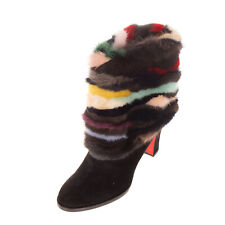 RRP€1370 CHRISTIAN LOUBOUTIN ALEXANDRA Leather Boots EU 36 UK 3 US 6 Mink Fur