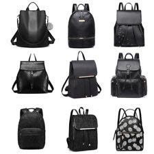 Ladies Girls Zipper Travel School Backpack PU Leather Shoulder Bag Purse
