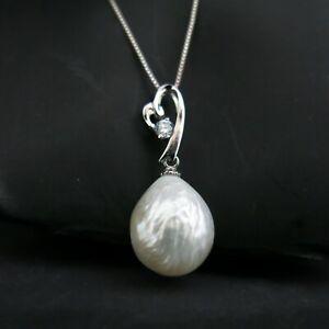 Anhänger Echte Perle Barock 13 x 16mm Weiß, 925er Silber mit Zirkoniastein TOP