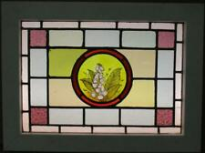 """VICTORIAN ENGLISH LEAD STAIN GLASS WINDOW Hand Painted Flowers 23.75"""" x 17.75"""""""