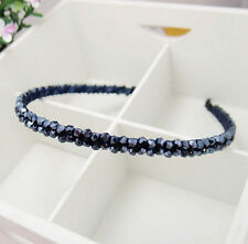 Girl's Fashion Navyblue Crystal Tiaras Handmade Beaded Hair Band Hair Hoop