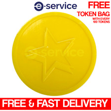 PLASTIC TOKENS 29mm YELLOW STAR EMBOSSED BOTH SIDES - EVENTS VOTING SCHOOL - 100