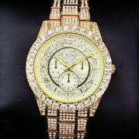 Fully Men Gold Iced Watch Bling Rapper Lab Simulate Diamond Metal Band Luxury